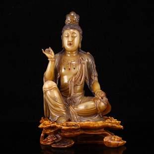 Superb Qing Dy Tianhuang Stone Kwan-Yin Statue w Box