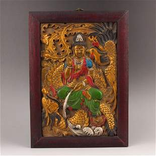 Gilt Gold Zitan Wood Kwan-yin & Dragon Phoenix Tangka
