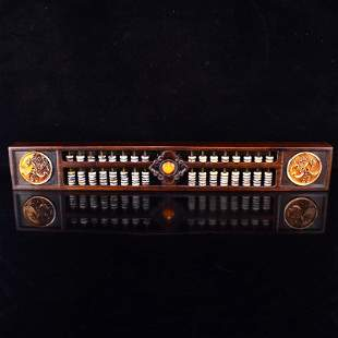 Chinese Zitan Wood Inlay Jade Beads Abacus