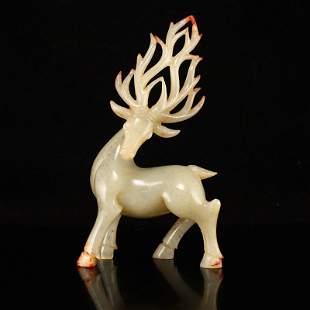 Vintage Chinese Hetian Jade Fortune Deer Statue