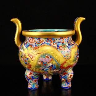 Gilt Gold Enamel Lucky Dragon Porcelain Incense Burner