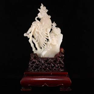Superb Chinese Qing Dy Hetian Jade Rooster Statue