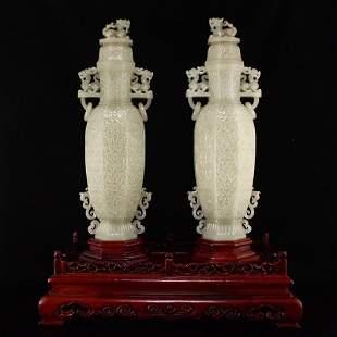 Pair Qing Hetian Jade Double Rings Fortune Beast Vases