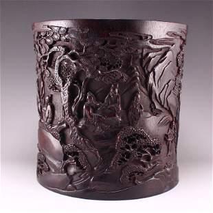 Qing Dynasty Zitan Wood Figure & Pine Tree Brush Pot
