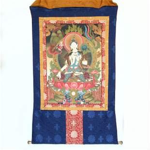 Tibetan Buddhism Sheepskin & Silk Tangka - Tara