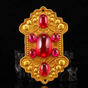 Gilt Gold Red Copper Inlay Ruby Sacrificed Pendant