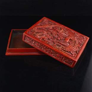 Red Lacquerware Dragon & Phoenix Design Jewelry Box