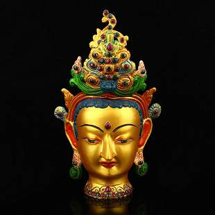 Old Gilt Gold Red Copper Inlay Gem Buddha Head Statue