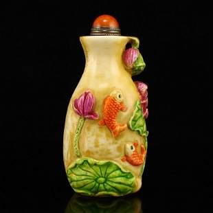 Vintage Bone Carp & Lotus & Lotus Leaf Snuff Bottle
