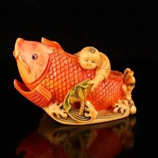Hand Carved Bone Lotus Leaf Kid & Fortune Fish Statue