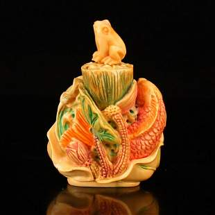 Hand Carved Bone Lotus Leaf & Carp w Frog Snuff Bottle