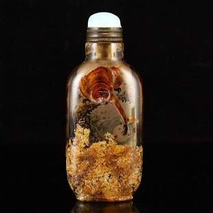 Qing Dy Crystal Inside Painting Monkey Snuff Bottle
