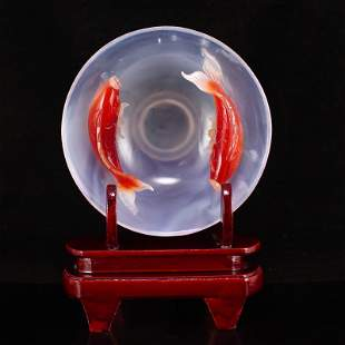 Chinese Agate Carved Double Fish Bowl w Certificate