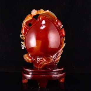 Red Agate Carved Peach & Fortune Bat Statue