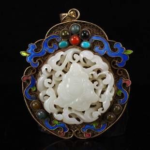 Gold Wire Enamel Inlay Hetian Jade & Gem Pendant