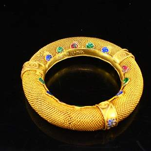 Vintage Chinese Gold Wire Enamel Bracelet