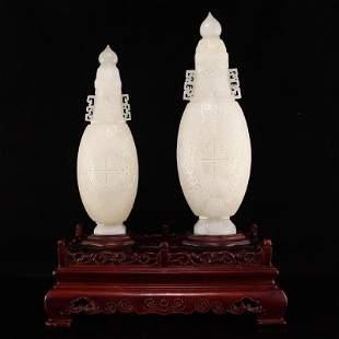 Pair Superb Qing Dy Hetian Jade Double Ears Vases