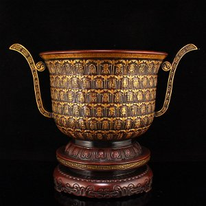 Gilt Gold Red Copper Hundred Fu Design Incense Burner