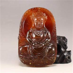 Vintage Natural Amber Buddha Pendant
