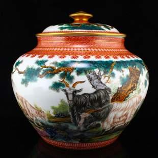 Famille Rose Three Sheep Poetic Prose Big Porcelain Jar