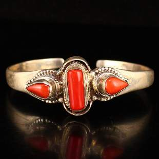 Vintage Pure Silver Inlay Red Coral Bracelet