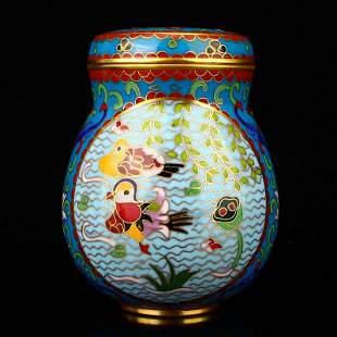 Gilt Edge Bronze Cloisonne Mandarin Duck Cricket Pot