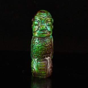 Vintage Hand Carved Turquoise Figure Pendant