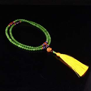 6 MM 108 Beads Chinese Green Hetian Jade Beads Necklace