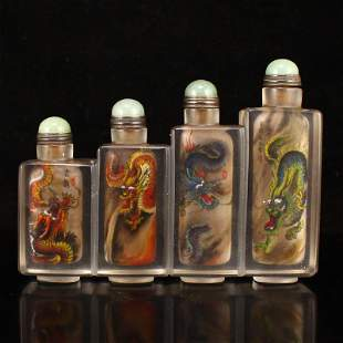 Vintage Crystal Inside Painting Conjoined Snuff Bottle