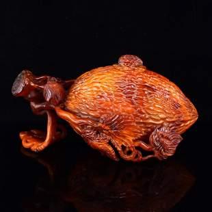 Vintage Chinese Ox Horn Carved Bitter Shape Pot