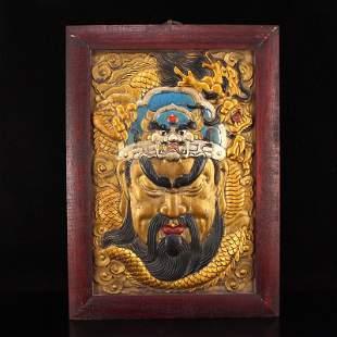 Chinese Gilt Gold Zitan Wood Guangong & Dragon Tangka