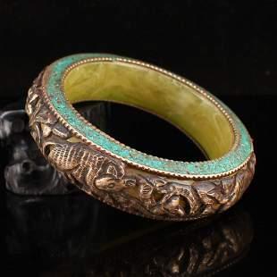 Vintage Tibetan Silver Inlay Turquoise Bracelet
