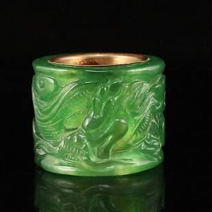 Chinese Inlaying Gold Edge Green Jade Thumb Ring