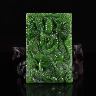 Chinese Green Hetian Jade Kwan-yin Pendant