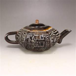 Vintage Chinese Ox Horn Carved Teapot