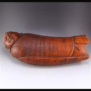 Chinese Bamboo Root Carved Figure Pillow