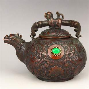 Vintage Chinese Red Copper Inlay Gem Handle Teapot