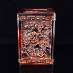 Chinese Ox Horn Carved Mountain River Scene Brush Pot