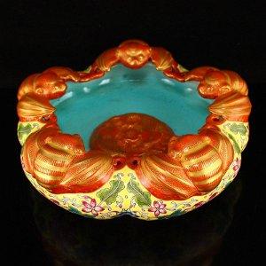 Qing Dy Gilt Gold Famille Rose Porcelain Brush Washer