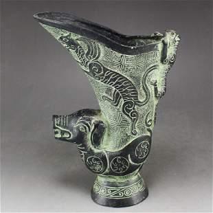 Vintage Chinese Bronze Beast Head Wine Pot