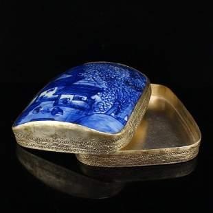 Vintage Silver Inlay Porcelain Piece Jewelry Box