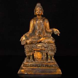Bewiwei Period Gilt Gold Red Copper Buddha Statue