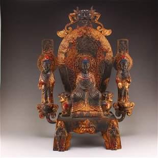 5 Kg Beiwei Period Gilt Gold Red Copper Buddha Statue