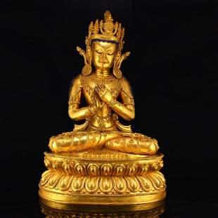 Ming Dy Gilt Gold Red Copper Buddhism Buddha Statue