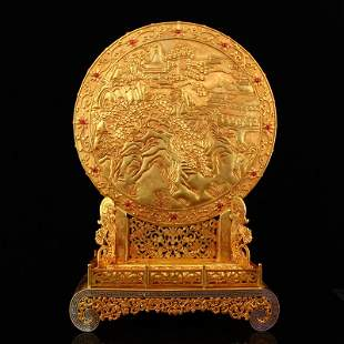 Excellent Qing Gilt Gold Red Copper Inlay Ruby Screen