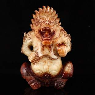 6.4kg Superb Hetian Jade Divine Beast Bear Statue
