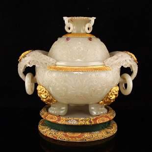 Qing Gilt Gold Hetian Jade Double Ring Incense Burner