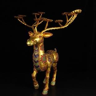 Qing Gilt Gold Red Copper Inlay Gem Deer Candlesticke