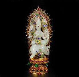 Superb Chinese Qing White Hetian Jade Samantabha Statue