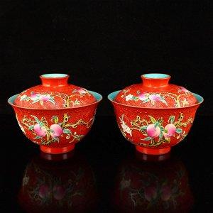 Red Ground Famille Rose Peach Design Porcelain Teabowl